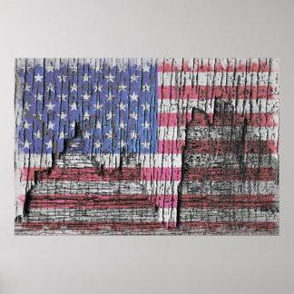 Barn Peeling Painted Patriotic American Flag Poster