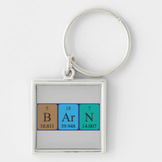 Barn periodic table name keyring Silver-Colored square key ring