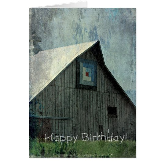 Barn Quilt Grunge, Birthday Card