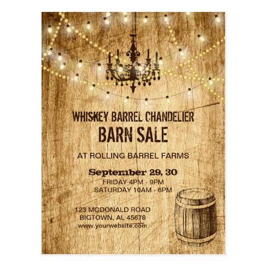 Barn Sale post card w chandelier, whiskey barrel