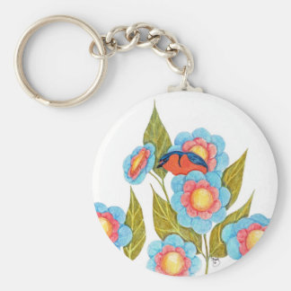 Barn Swallow and Posies Basic Round Button Key Ring