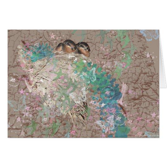 Barn Swallow Fantasy - Birds in a nest Card