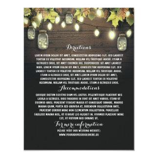 Barn Wedding Information Card with Mason Jars 11 Cm X 14 Cm Invitation Card