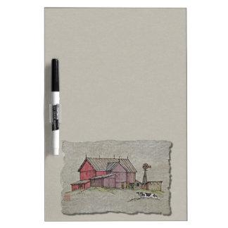 Barn Windmill & Cow Dry Erase Board