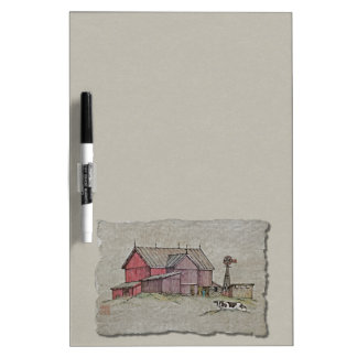 Barn Windmill & Cow Dry Erase Whiteboard