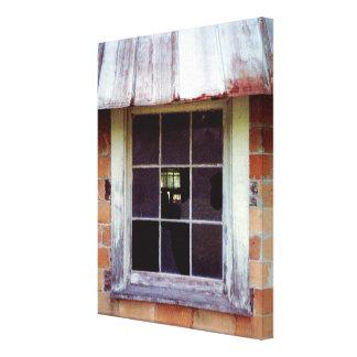 Barn Window Rustic Art Print on Wrapped Canvas