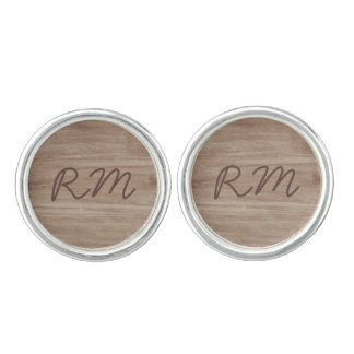 Barn Wood and Birch Country Wedding Cuff Links