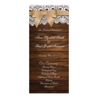 Barn Wood and Lace beige bow wedding program Customised Rack Card