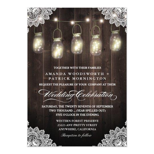 Barn Wood and Lace Mason Jar Wedding Invitations
