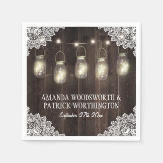 Barn Wood and Lace Mason Jar Wedding Napkins Disposable Napkins