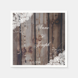 Barn Wood and Lace Napkins Disposable Serviette