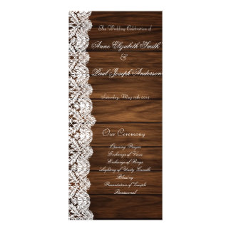 Barn Wood and Lace wedding program Rack Card