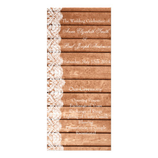 Barn Wood and Lace wedding program Full Color Rack Card