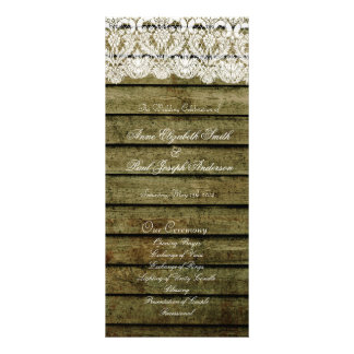 Barn Wood and Lace wedding program Rack Card Template