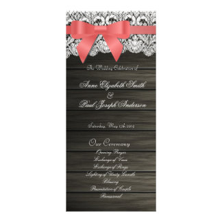 Barn Wood and Lace wedding program Personalized Rack Card