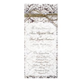 Barn Wood and Lace wedding program Customized Rack Card