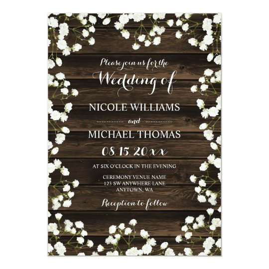 Barn Wood Baby's Breath Border Wedding Invitations