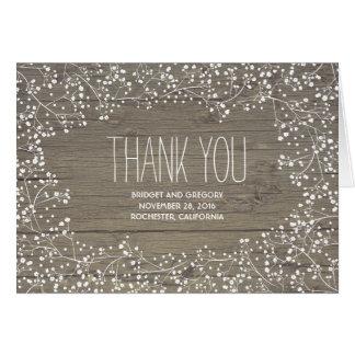 Barn Wood / Baby's Breath Wedding Thank You Card