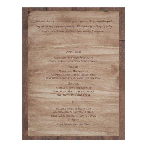 Barn Wood Bears Country Wedding Menu Flyer