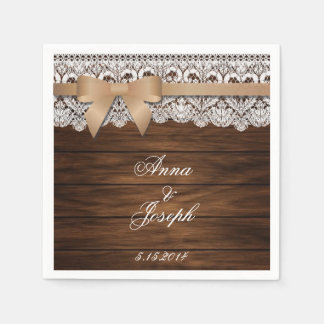 Barn Wood beige bow and Lace Napkins Disposable Napkins