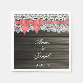 Barn Wood coral bow and Lace Napkins Paper Napkin