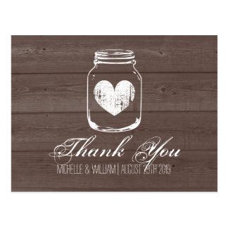 Barn wood country chic mason jar thank you cards