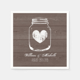 Barn wood country chic mason jar wedding napkins disposable napkin