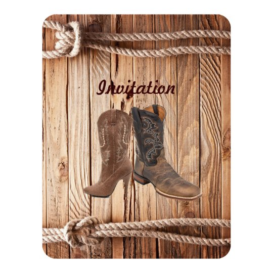 barn wood Cowboy Boots Western country Wedding Card