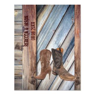 barn wood Cowboy Boots Western country Wedding Invites