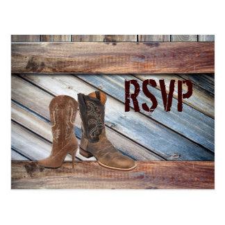 barn wood Cowboy Western country Wedding rsvp Postcard