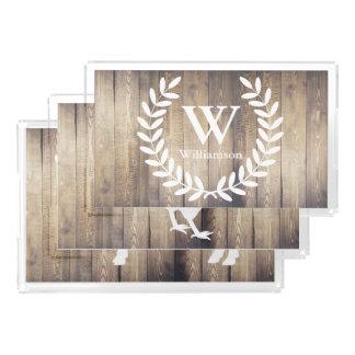 Barn Wood Farmhouse Rustic Family Name Hen & Bull Acrylic Tray
