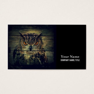 Barn Wood Gothic wild bird Spooky hoot owl Business Card