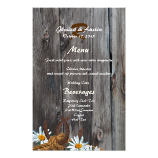 Barn Wood, Horseshoes and Daisies Menu Personalised Stationery