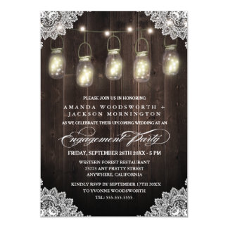 Barn Wood Lace Mason Engagement Party Invitations