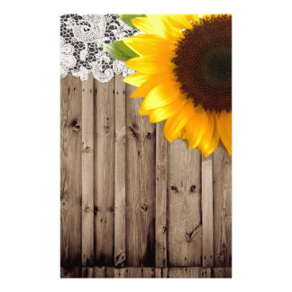 barn wood lace rustic country sunflower stationery