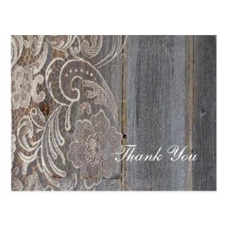barn wood lace western barn wedding thank you postcard