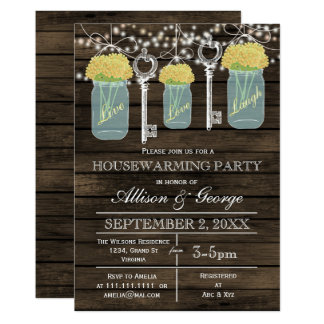 Barn wood mason jars keys rustic housewarming card