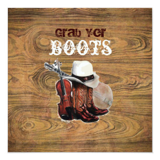Barn wood Rustic Country cowboy Wedding 13 Cm X 13 Cm Square Invitation Card
