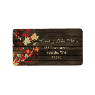Barn Wood Rustic Fall Leaves Wedding Address Label