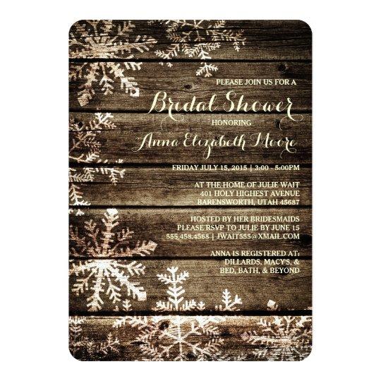 Barn Wood Snowflakes Rustic Winter Bridal Shower Card