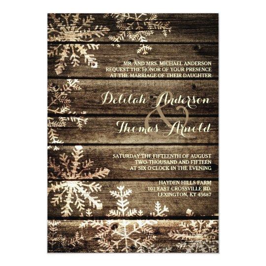 Barn Wood Snowflakes Rustic Winter Wedding Card