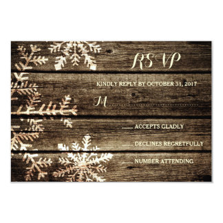 Barn Wood Snowflakes Rustic Winter Wedding RSVP 9 Cm X 13 Cm Invitation Card