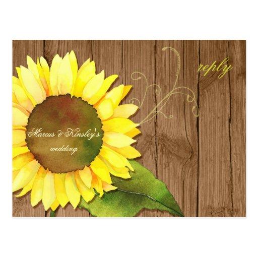 Barn Wood Sunflower Fall Wedding RSVP (4.25x5.6) Postcards