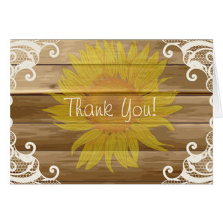 Barn Wood Sunflowers and Vintage Lace Thank You Greeting Card