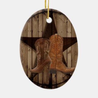 Barn Wood Texas Star western country cowboy boots Christmas Ornament
