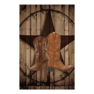 Barn Wood Texas Star western country cowboy boots Personalized Stationery