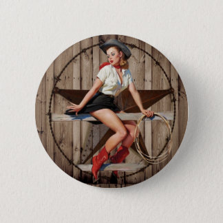 Barn Wood Texas Star western country Cowgirl 6 Cm Round Badge