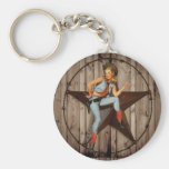 Barn Wood Texas Star western country Cowgirl Basic Round Button Key Ring