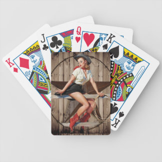 Barn Wood Texas Star western country Cowgirl Bicycle Playing Cards