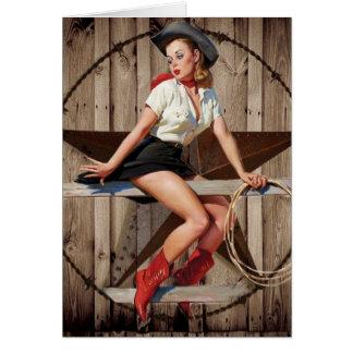 Barn Wood Texas Star western country Cowgirl Greeting Card